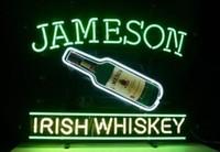ingrosso segni irlandesi al neon della birra-Custom New Jameson Irish W hiskey Real Glass Neon Sign light Birra Bar Sign Invia bisogno di foto 19x15