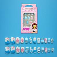 pegar las uñas azules al por mayor-Nuevo Cute Blue Ocean Dolphin Niños Fake Nails 24 piezas Pre-pegamento Press on Nail Tips Nail Starfish Embellishment
