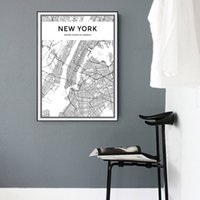 Wholesale Wall Poster New York - Minimalist New York City Map Canvas Painting Black and White Pop Poster Print Nordic Wall Art Picture for Living Room Home Decor