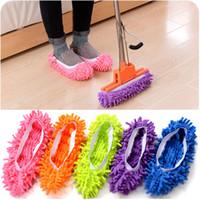 ingrosso mop del pavimento-Dust Cleaner Pantofole per il pascolo Casa Bagno Pulizia del pavimento Panni per spazzolone Pantofola pulita Copertura per scarpe pigro in microfibra