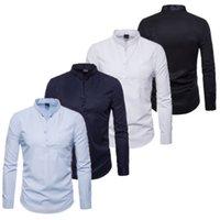 jersey delgado elegante de los hombres al por mayor-Camisa de vestir informal elegante de los hombres de lujo Slim Fit blusa pullover bolsillo soporte cuello Formal manga larga de negocios