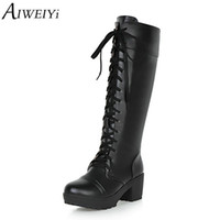 длинные туфли на шнурке оптовых-AIWEIYi Lace Up  Boots for Women Round toe Square Heel High Heels Cosplay Boots Autumn Winter Shoes Long Boots Black