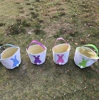 meute de lapin achat en gros de-Toile de jute paniers de Pâques bricolage sacs de lapin sac de rangement sac oreilles de lapin panier pour enfant cadeaux emballage Pâques oreilles de lapin panier KKA4063