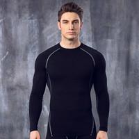 ingrosso corpo di pallacanestro-Tuta da allenamento tuta da allenamento tuta da allenamento da uomo elastico velocità di compressione vestiti asciutti corpo stretto abbigliamento manica lunga