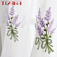 Wholesale embroidered tulle curtains - Luxury Embroidered Pink Lavender Flower Tulle Blue Curtains For Living Room Red Rose embroidery Curtains Purple Sheer AG057&2