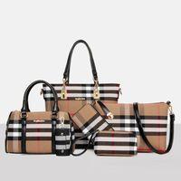 lederpeitsche großhandel-Neu Kommen 6 teile / satz Designer Handtasche Frauen Lash Paket PU Ledertaschen Krokoprägung Handtasche Mode Umhängetasche