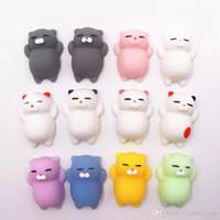 ingrosso cat kawaii squishy-Mini Squeeze Toy Squishy Cat Panda Pinch Doll Carino Kawaii Squeeze Elastico Animale Guarigione Antistress Giocattoli per le dita DHT169