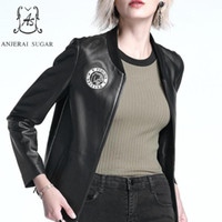 Rabatt Herbst Leder Baseball Jacke Frauen | 2019 Herbst