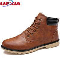 деловой повседневной рабочей обуви мужчины оптовых-UEXIA Quality Ankle Short  Boots Men Work Shoes Casual Ankle Shoe Work Outdoor Business Dress Round Toe Lace-up Motorcycle