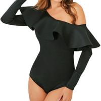 ingrosso sottili bodysuits-Di alta qualità ruffle tuta sexy donne tuta slim pagliaccetto manica lunga di un pezzo aderente tuta nera skinny tute GV105