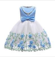 ingrosso gonna di garza blu-Bestseller nuova primavera estate rete garza ricamata ragazza vestito gonna abito vestito senza maniche perla 100-150 cm