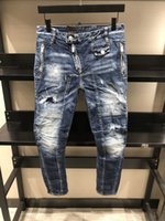 Wholesale xs micro - SS18 NEW Summer Biker Jeans type Skinny Button Fly Mens Jeans Micro-stretch Denim Desinger D804-805 Slim Fit Make Shabby holes top Men