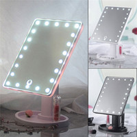 Wholesale light mirror resale online - 22 LED Touch Screen Makeup Mirrors Professional Adjustable Rotating LED Light Mirror Cosmetic Make Up Countertop Mirrors