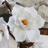 Wholesale magnolia flowers for sale - Group buy New Design Artificial Magnolia Silk Fake Flower Branch Fleur Artificielle Flores Arrange Table Wedding Home Decor Party Accessory