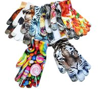 Wholesale tiger costume women online - 3D Printed Women Gloves Cartoon Animal Tiger Cat Lion Glove Capacitive Touch Screen Flower Knitted Gloves Outdoor Warm Mittens Designs