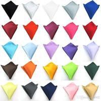 ingrosso tasca quadrato del tovagliolo-Pure Colors Pocket Fazzoletto Fashion For Men Square Satin Tessuto Napkin Usura formale Suit Sciarpa petto Vendita calda 1 2ys BB