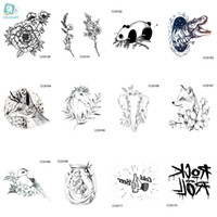 97a5a2c31d856 Rocooart CC2 6X6cm Little Vintage Simple Style Cute Black White Panda  dinosaur Wolf Animal Temporary Tattoo Sticker Body Art