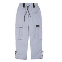 calça prateada para mulheres venda por atacado-Hip Hop Moletom Homens Mulheres Outono Multi Bolso Laranja Carga Calças de Prata Masculino Streetwear Elástico Na Cintura Calças de Jogger Casuais