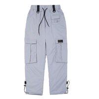cargaison multi poche achat en gros de-Pantalons de survêtement Hip Hop Hommes Femmes Automne Multi Poche Orange Silver Cargo Pants Homme Streetwear Taille Élastique Casual Jogger Pantalon