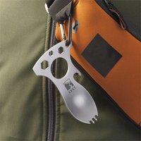 ingrosso carabiner apribottiglie-Apribottiglie multifunzione EDC Pocket Fork Apribottiglie per campeggio all'aperto Articoli per carabiner Kit Card design metallo con portachiavi 1 8bs ZZ