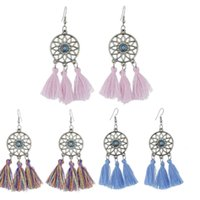Wholesale India Dreamcatcher Tassel Earring Dangle Ear Cuffs Fashion Jewelry for Women Gift Will and Sandy Drop Ship