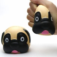 Wholesale head cakes - Cute Dog Head Squishy Toys Cartoon Hound Squeeze Slow Rising Cake Scented Phone Charms Stress Reliever kids Gift BBA242