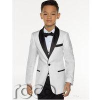 çocuklar özel smokinleri toptan satış-Ucuz Üç Adet Beyaz çocuğun Tuxedos Custom Made Çocuklar Düğün Smokin çocuğun Resmi Akşam Yemeği Suit (Ceket + Kravat + pantolon + yelek)