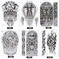 ingrosso decalcomanie di fiori neri-ATOMUS Beauty Decal Adesivi per tatuaggi Black Indian Sun Flower Henna modello Women Girl Body Art Tatuaggio temporaneo rimovibile