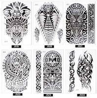indische körperaufkleber großhandel-ATOMUS Schönheit Aufkleber Tattoo Aufkleber schwarz indische Sonne Blume Henna Muster Frauen Mädchen Body Art temporäre Tattoo Removable