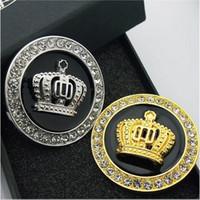 altın taç elmas toptan satış-Metal Rozet Amblem Rozeti Logosu Araba Çıkartmaları ve Çıkartmaları Kişiselleştirilmiş Dekorasyon Altın / Gümüş Oto Etiket 3D Elmas Taç Araba-styling