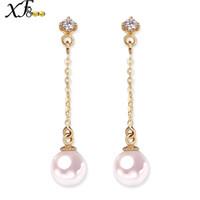 ingrosso orecchini di goccia oro giallo della perla-XF800 18 carati d'oro orecchini di perle giallo Au750 gioielleria fine 6-6,5 mm rotondi di perle Akoya lungo orecchini pendenti regalo E126