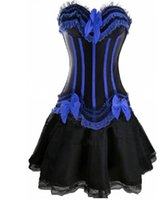 6d01a9a78c6 Gothic Burlesque Corset   skirt Fancy dress Hen Party Halloween Costume  Sexy Overbust Corset And Bustier Lace costume