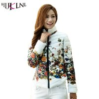 Wholesale padded jackets women plus size - HIJKLNL 2017 Winter Jacket Slim Padded Cotton Parkas Women Flower Coats Plus Size Zipper Outerwear Woman printing Clothing LW229