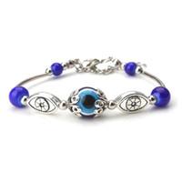 голубые глаза индейки оптовых-1 string/lot Trendy Turkey Evil Eye Blue  Alloy Charms Chain Adjustable Bracelet & Bangle Fitting Women Gift Jewelry