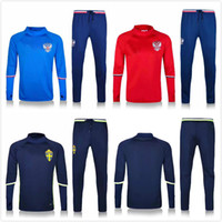 Wholesale Russian Suit - Best quality Sweden red Russian red and blue training suit 2018 Russian World Cup national team soccer sport thin pants free delivery