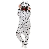 costumes mardi gras féminins achat en gros de-Dalmatian Dog Women 's et hommes' Kigurumi polaire Costume polaire pour Halloween Carnaval Nouvel An Party Bienvenue Drop Shipping