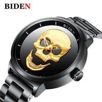 punk elegante venda por atacado-Biden Homens Relógios Top Marca de Luxo Crânio Preto Relógio de Quartzo Homens de Aço Inoxidável Do Punk Elegante Relógio À Prova D 'Água homem relógio de Pulso