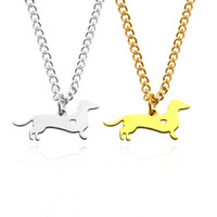 Wholesale dachshund pendant - Gold Silver Dachshund Necklace Sausage Dog Puppy Doggy Hollow Heart Charm Pendant Metal Animal Choker Necklaces For Dogs Owner Jewelry
