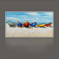 pinturas a óleo florais abstratas venda por atacado-Faca pintura a óleo moderna da praia e do barco decoração de casa na lona pintura abstrata pinturas de arte SS-003