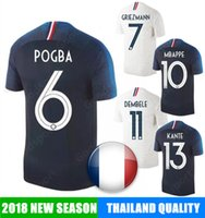 Wholesale football nation - 2018 Soccer Jersey GRIEZMANN 7 POGBA 6 MBAPPE 10 calcio fútbol shirts football MARTIAL KANTE DEMBELE french world cup nation team