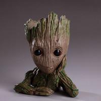 Wholesale green guardian - Guardians of The Galaxy 15cm Baby Groot Figure Flowerpot Toy Flower Pen Pot Xmas Gift 10pcs OOA5087