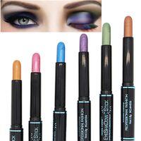 камуфляжная глазная палитра оптовых-12 Colors Waterproof Smoky Eyeshadow Pen Stick Eye Camouflage  Cream Metallic Eye Shadow Palette Liner Pencil Cosmetics