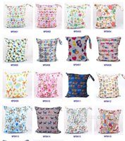 Wholesale free infant diapers - 48 Types Baby Wet Dry Diaper Bag Infant Travel Nappy Organizer Double Zipper Waterproof Tote Bag with Soft Snap Handle Free DHL MPB06