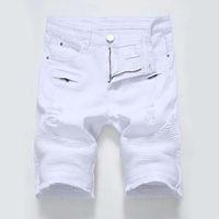 2019 Herren Jeans Shorts Biker Jeans Kurze Hosen Skinny Slim Ripped Hole Herren Denim Shorts Herren Designer Jeans