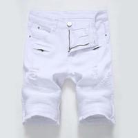 jeans cortos slim al por mayor-2019 Pantalones vaqueros para hombre Pantalones cortos pantalones de motociclista Pantalones cortos Flaco Agujero rasgado rasgado Pantalones cortos de mezclilla para hombres hombres Pantalones vaqueros de diseño