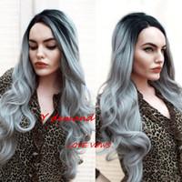 ingrosso parrucche di moda africani americane-Wome Fashion Long Curly Wigs Ombre Grey Natural Wig or Fake dal calore Parrucche sintetiche di prova per Black American American Women