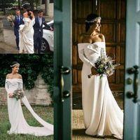 Wholesale vintage goddess wedding dresses resale online - Vintage Bohemian Wedding Dresses with Long Sleeve Modest Off Shoulder Simple Stain Greek Goddess Country Garden Bridal Dress