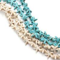 ingrosso collana della perla del branello-38 pz / filo 13 * 13mm Naturale Howlite Starfish Perline di Pietra Branelli Allentati del distanziatore misura DIY Braccialetto di Fascino Della Collana Monili Che Fanno Z421