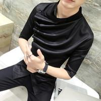 ingrosso uomini in camicia nera increspata-2018 Estate camicia gotica Ruffle Designer camicia collare in bianco e nero uomini coreani moda abbigliamento Prom Party Club anche camicie