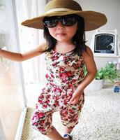 kız yaz pantolon pantolon toptan satış-Toptan Bebek Giysileri kızın Çiçek Tulum Askı Pantolon Pantolon% 100% Pamuk Çiçek Baskı Çocuklar Yaz Kıyafet